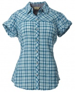 女PL輕量彈性短袖襯衫 藍 61194