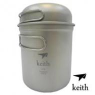 KEITH 100%純鈦 400ml+1.2L 一鍋一蓋套裝組/單人鍋/鍋具/煎鍋/茶壼 Ti6051