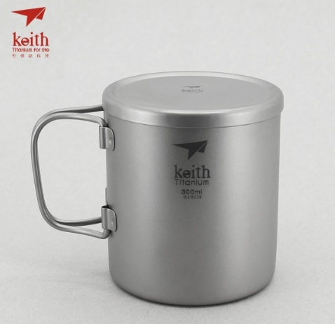 KEITH  100%純鈦 300ml 隔熱雙層鈦杯 有把手 Ti3352