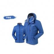 SUMMIT BL201 男款三合一羽絨發熱外套-靜謐藍