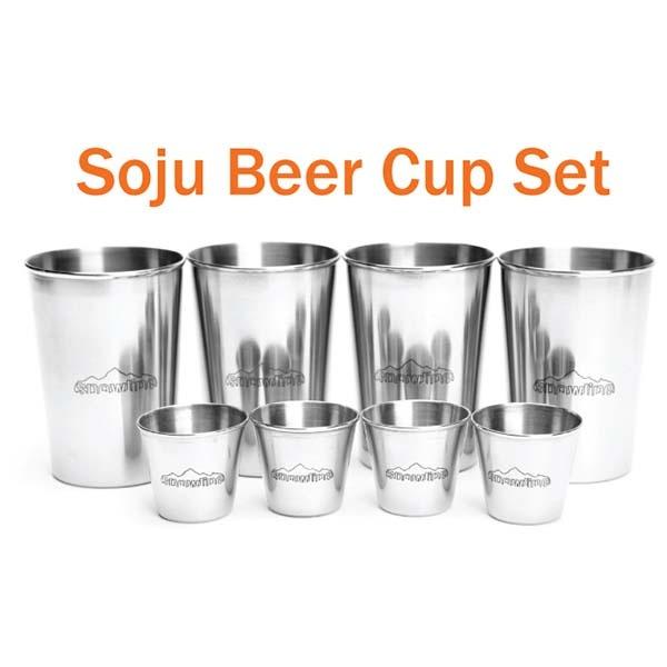 SNOWLINE SN35UCW004 不鏽鋼啤酒杯+燒酒杯8入組