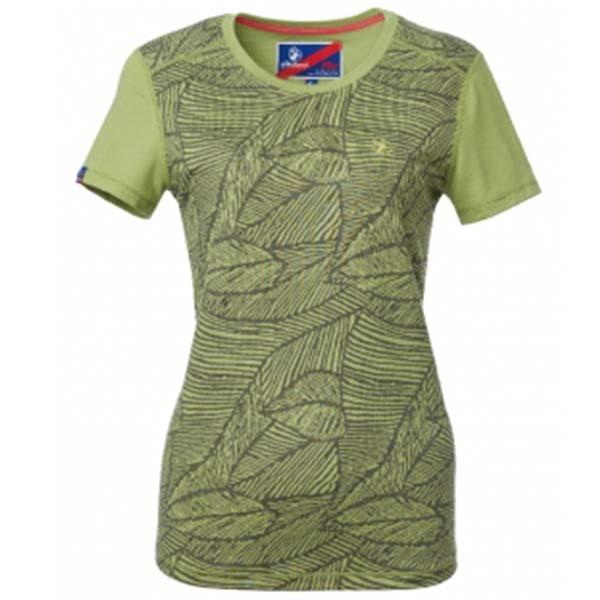 WILDLAND 61681 女彈性棉感抗UV印花上衣 淺綠