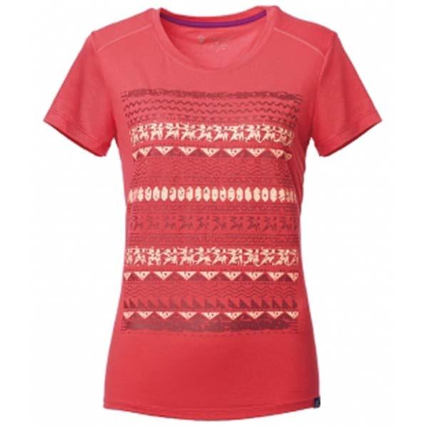 WILDLAND 61607 女彈性棉感抗UV印花上衣 瑪瑙紅
