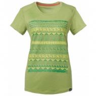 WILDLAND 61607 女彈性棉感抗UV印花上衣淺綠