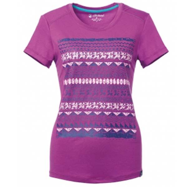 WILDLAND 61607 女彈性棉感抗UV印花上衣 淺紫
