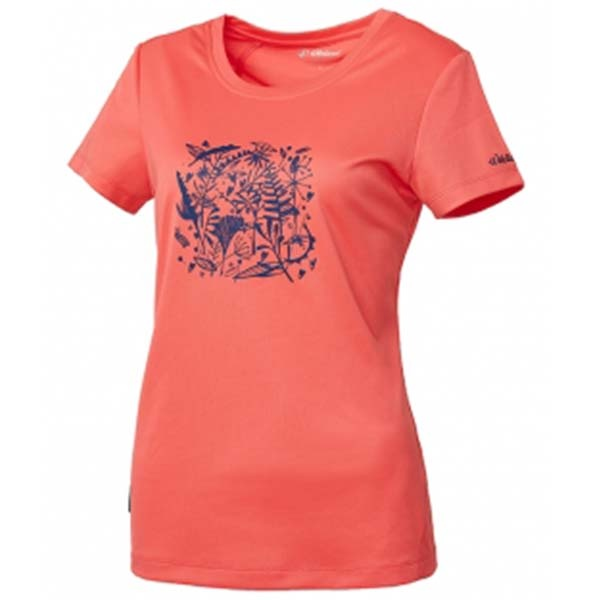 WILDLAND 61605 女咖啡紗印花抗菌抗UV上衣 粉橘