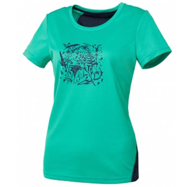 WILDLAND 61605 女咖啡紗印花抗菌抗UV上衣 綠