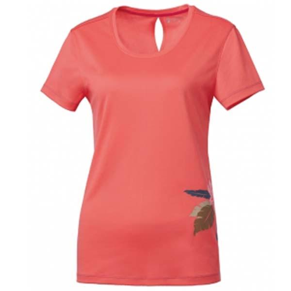 WILDLAND 61625 女咖啡紗抗菌抗UV長版上衣 粉橘