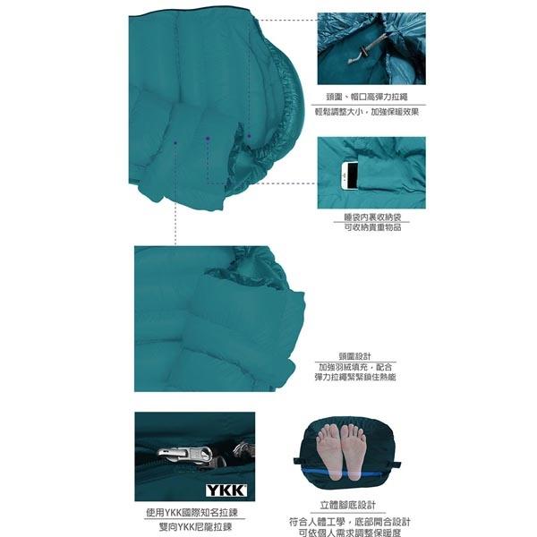 OUTDOORBASE 22628 雪舞羽絨睡袋 800g A03中藍