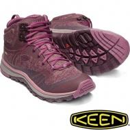 KEEN 1019876 Terradora Mid女戶外防水登山鞋 酒紅紫紅