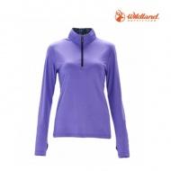 WILDLAND OA71619-29 彈性針織輕薄拉鍊領長袖上衣(紫羅蘭)