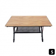 【Outdoorbase】精細胡桃木紋質感桌∣高度無段式調整  胡桃色木紋鋁合金蛋捲桌 S 25469